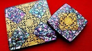 【レジン】螺鈿細工風コースターを作る【お知らせがあります】DIY Resin Shell Mosaic Coaster thumbnail