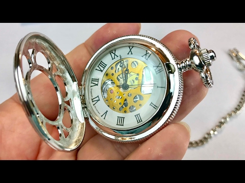 Magic Roman Half Hunter Sliver Steel Hollow Skeleton Quartz Pocket Watch Review And Giveaway