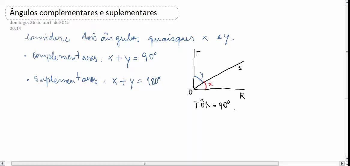 Ângulos - ângulos complementares e suplementares - YouTube
