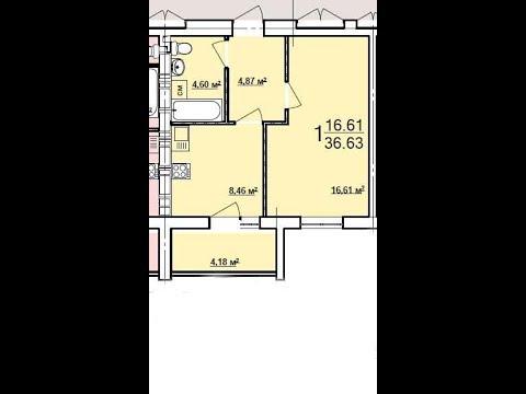 Новострой планировка  36 кв.м со стяжкой и штуратуркой ( однокомнатная квартира)