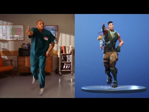 """Fortnite Default Dances Synced with """"Poison"""" Dance from Scrubs (Dance Moves Origin)"""