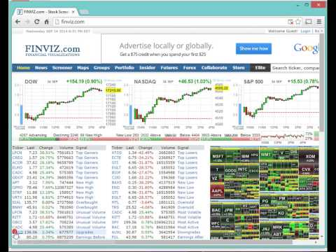 Screening/Scanning for Stocks using www.finviz.com – Part 3 of setting up stock charts 9/24/14