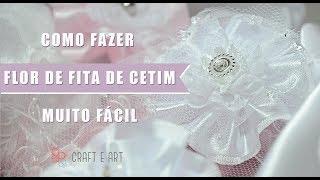 COMO FAZER FLOR VINTAGE/SHABBY CHIC COM FITA DE CETIM E RENDA