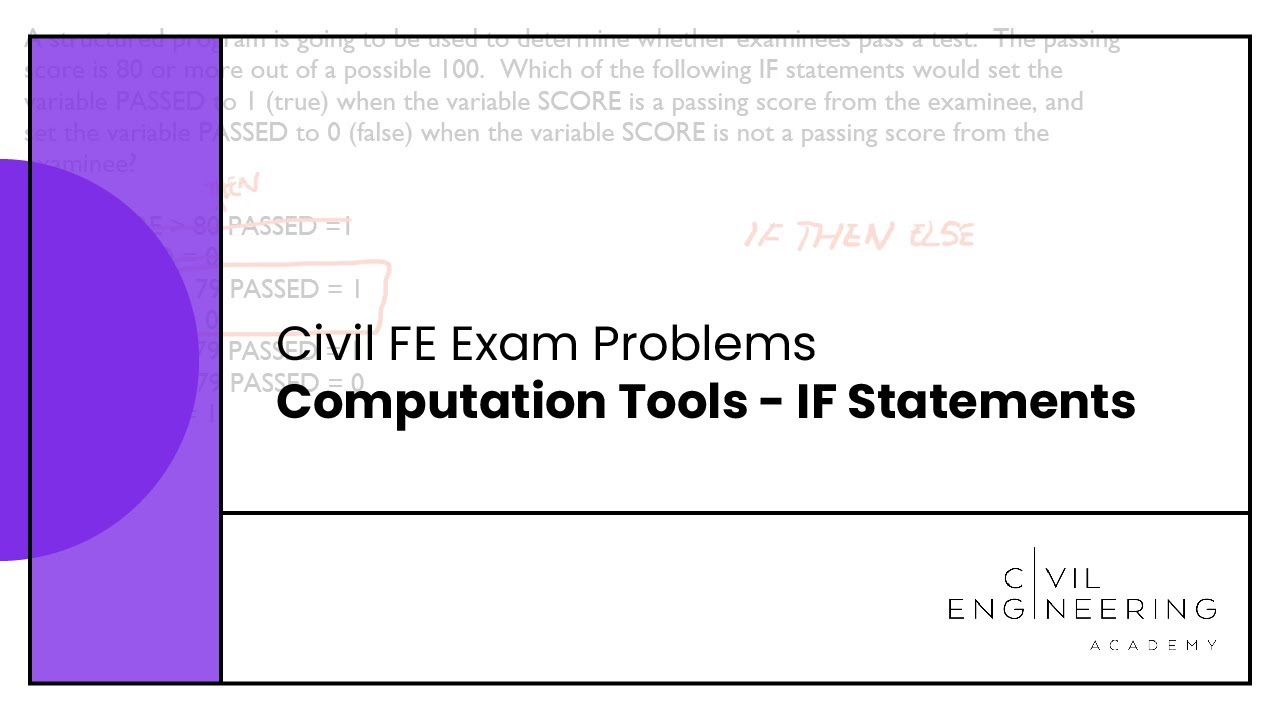 civil fe exam problems computation tools if statements