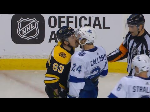 Brad Marchand licks Ryan Callahan after scrum