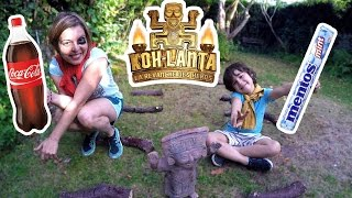 KOH-LANTA parodie  & CHALLENGE COCA MENTOS épreuve d'immunité en famille !