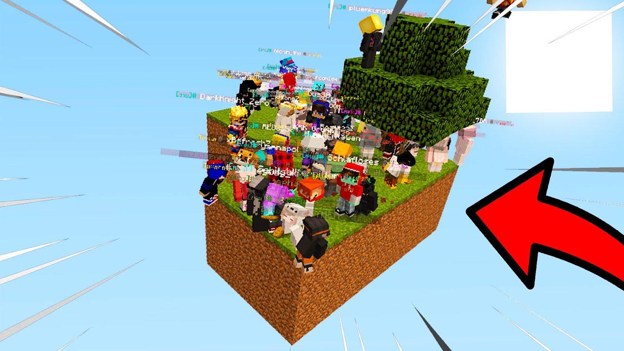 จะเป็นไง!? ถ้าเอาผู้เล่น 100คน!! มาอยู่ในเกาะ Skyblock เกาะเดียว!! - Minecraft SkyBlock vs 100Player
