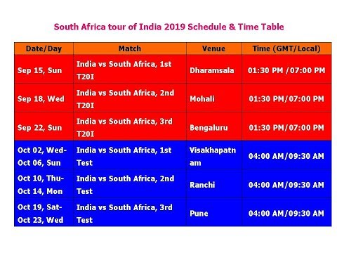 India vs south africa odi match time table