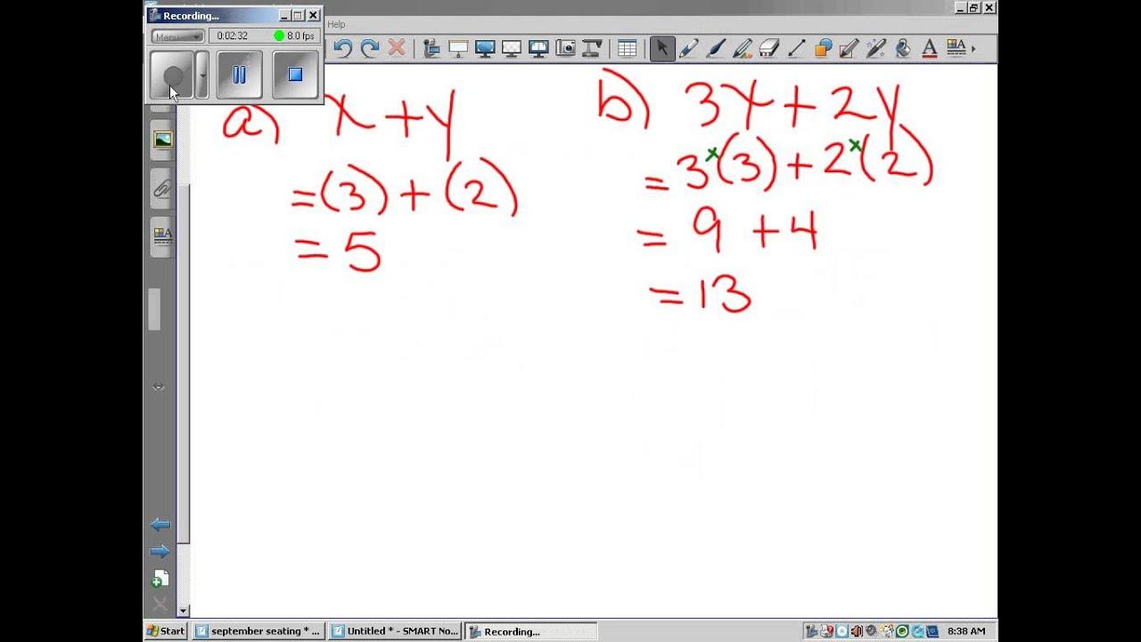 Sept 30 Grade 8 Algebra And Substitution