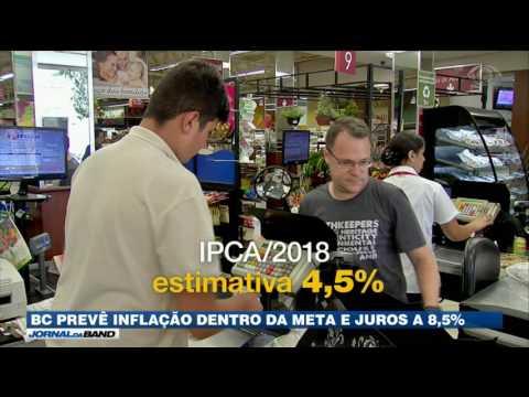 BC prevê inflação dentro da meta e juros a 8,5%
