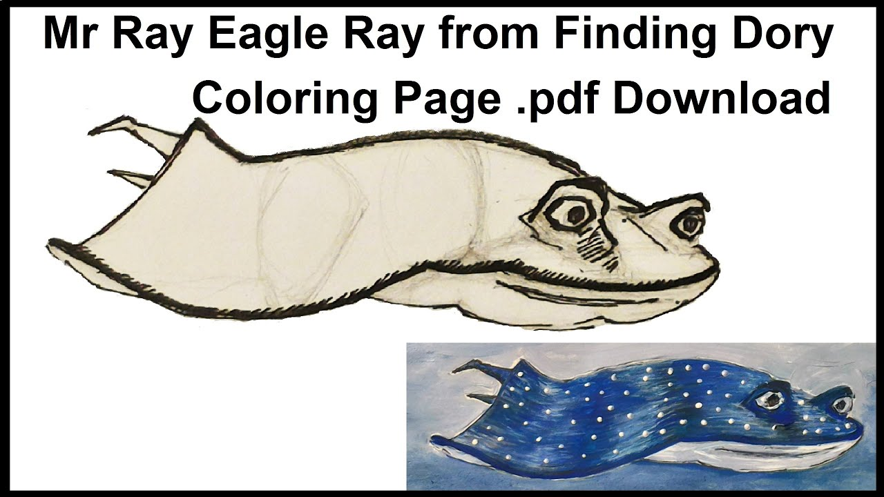 Spotted eagle ray coloring pages - Mr Ray Eagle Ray From Finding Dory Coloring Page Pdf Download