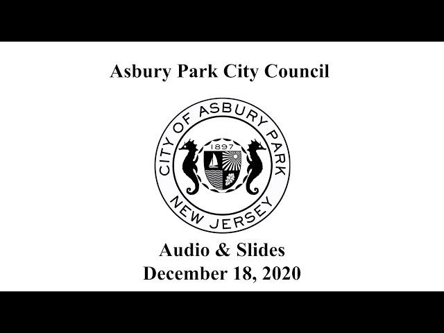 Asbury Park City Council Meeting - December 18, 2020
