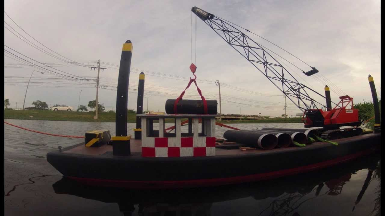 Crane Barge 1/20th Scale With RC Crane and Tug Boat - YouTube