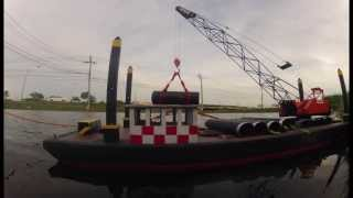 Crane Barge 1/20th Scale With Rc Crane And Tug Boat