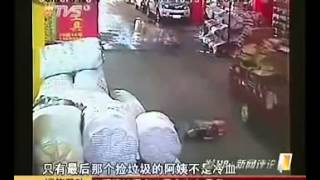 Yue Yue 2years old girl hit by car twice in China