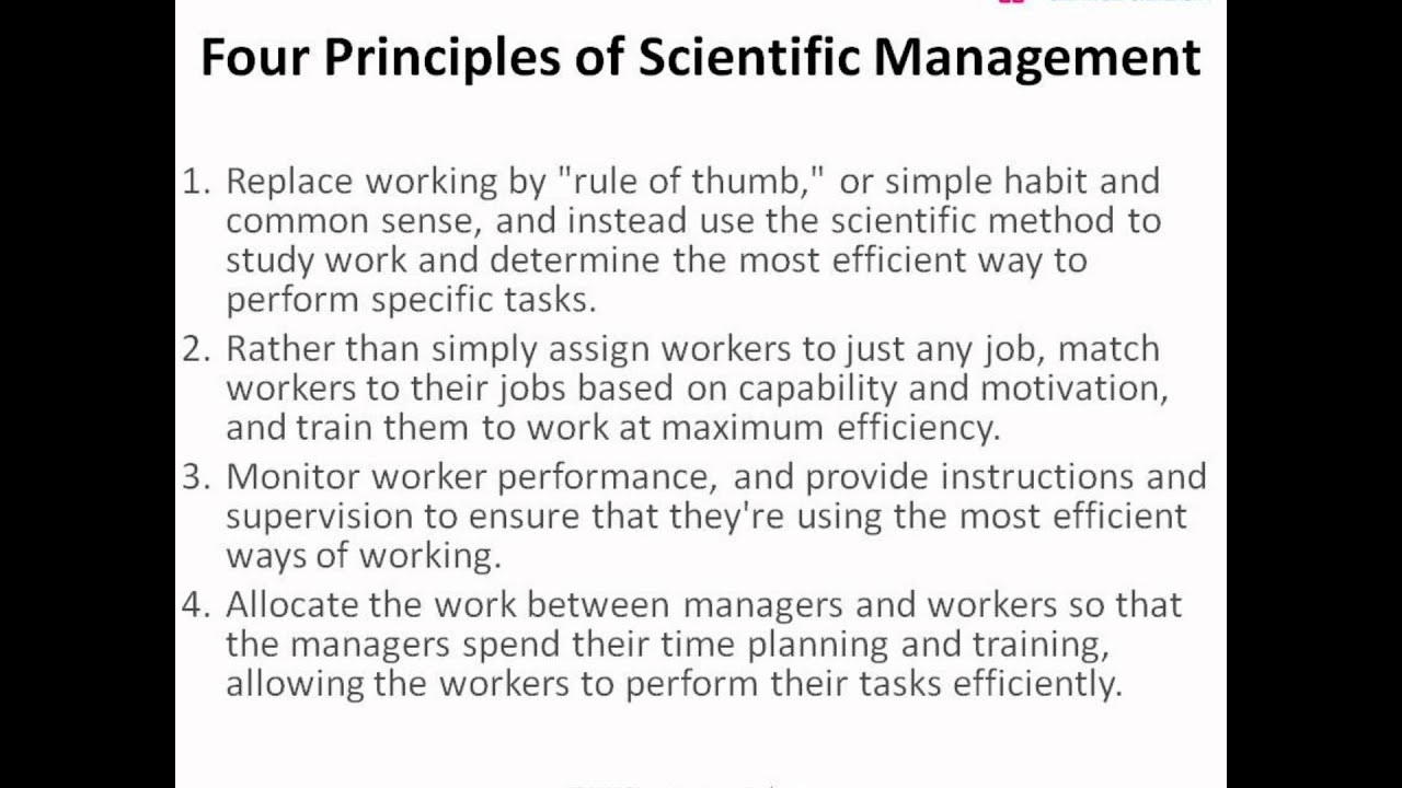 frederik taylor and scientific management essay Frederick taylor published the principles of scientific management in 1911, describing how to increase productivity of workers by using the principles of the scientific method he proposed.