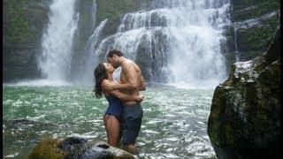 Romantic Kiss by a Waterfall, Honeymoon & Travel Stock Video Footage