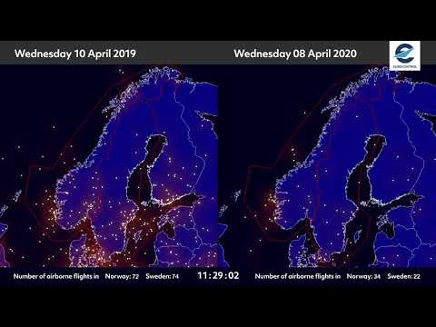 Air traffic situation over Norway and Sweden - 08 April 2020 vs 10 April 2019