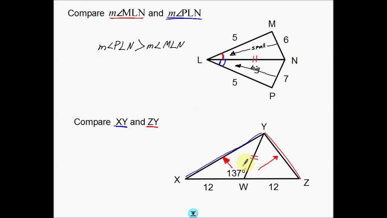 worksheet Hinge Theorem Worksheet hinge theorem youtube theorem