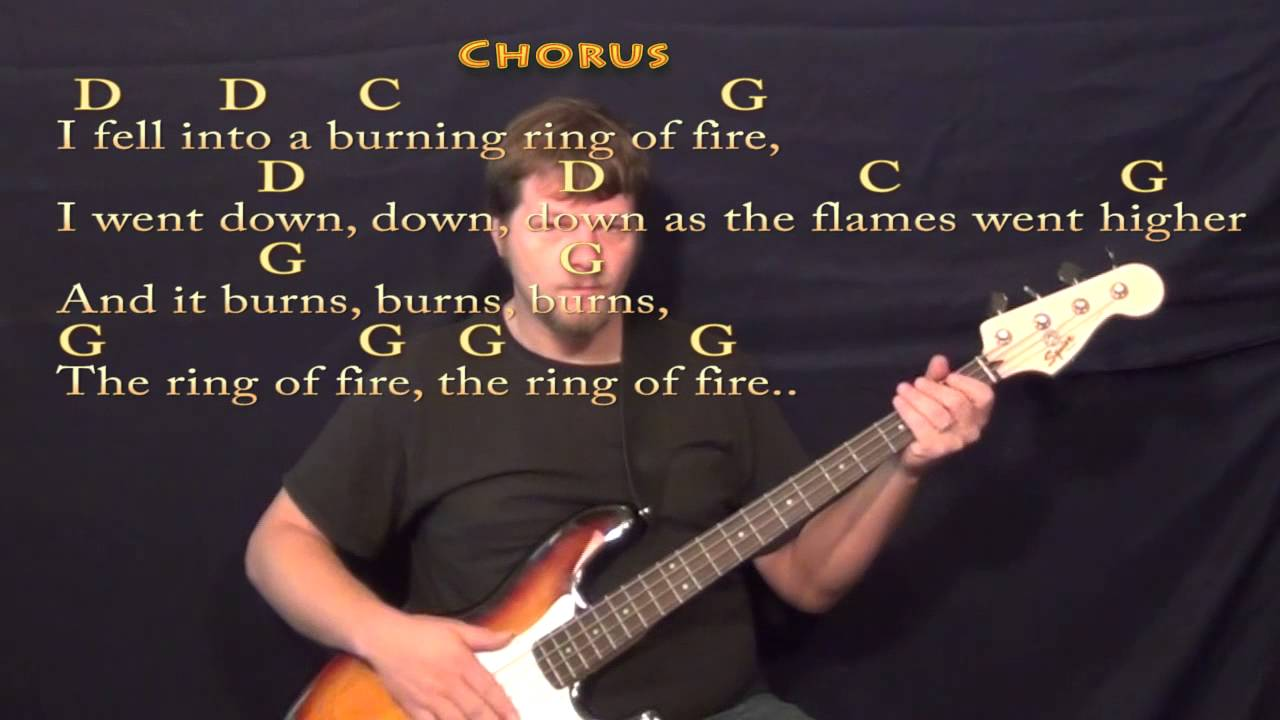 Ring Of Fire Johnny Cash Bass Guitar Cover Lesson With Chords