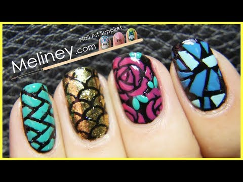 fall colored nail vinyl nail art design tutorial for