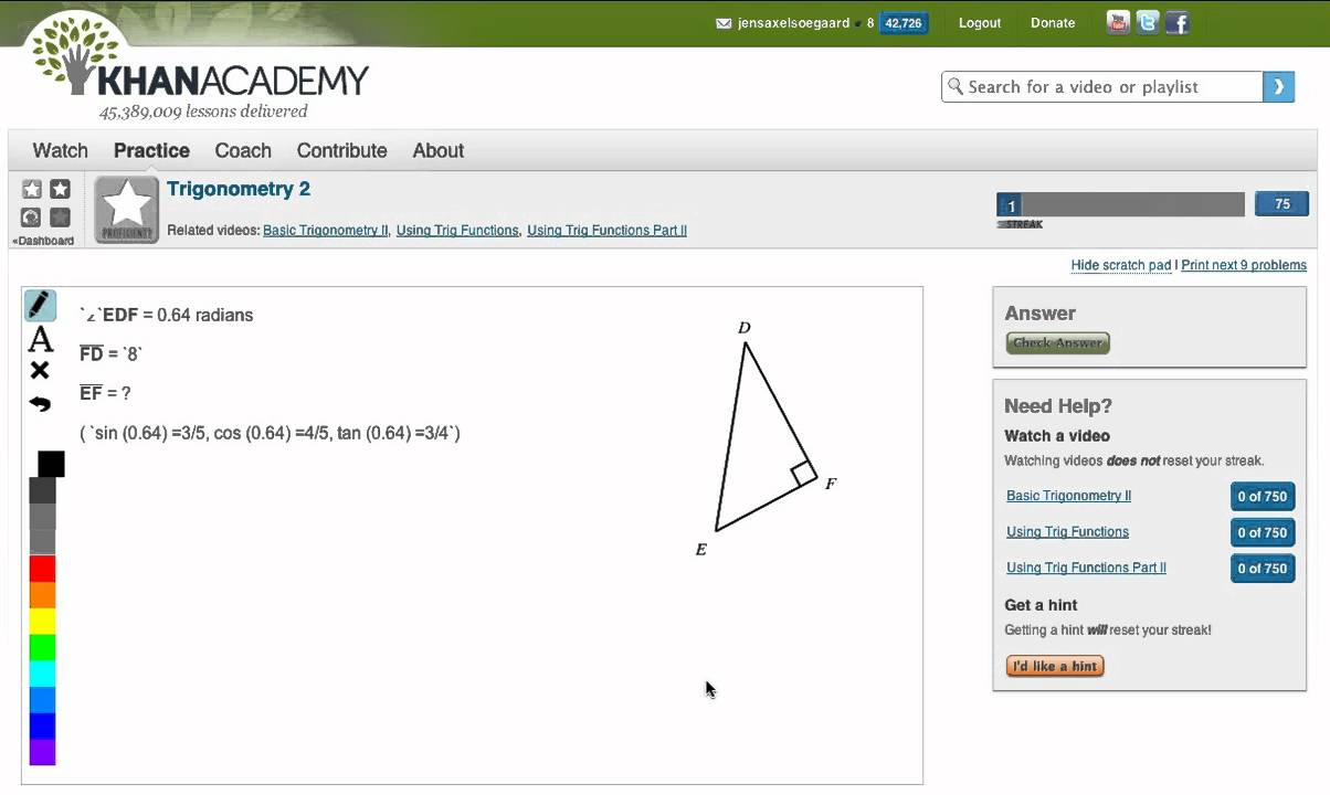 Khan Academy - Trigonometry 2 - Sider i retvinklet trekant