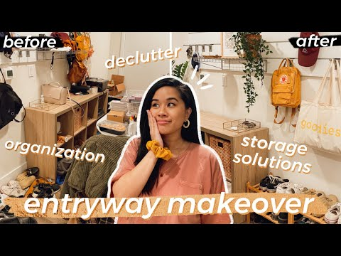 APARTMENT ENTRYWAY MAKEOVER   Organization/Storage Solutions + EXTREME Declutter *RENTER FRIENDLY*