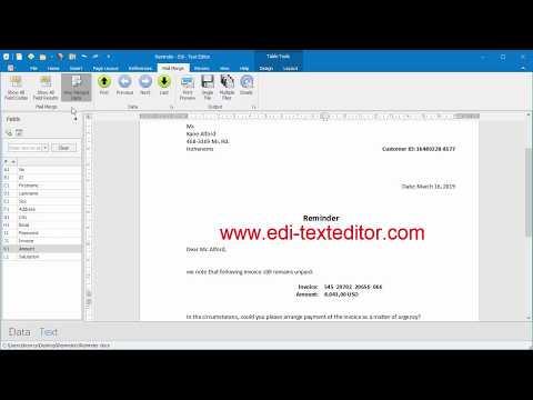Free Mail Merge to PDF with Edi - Text Editor FREE