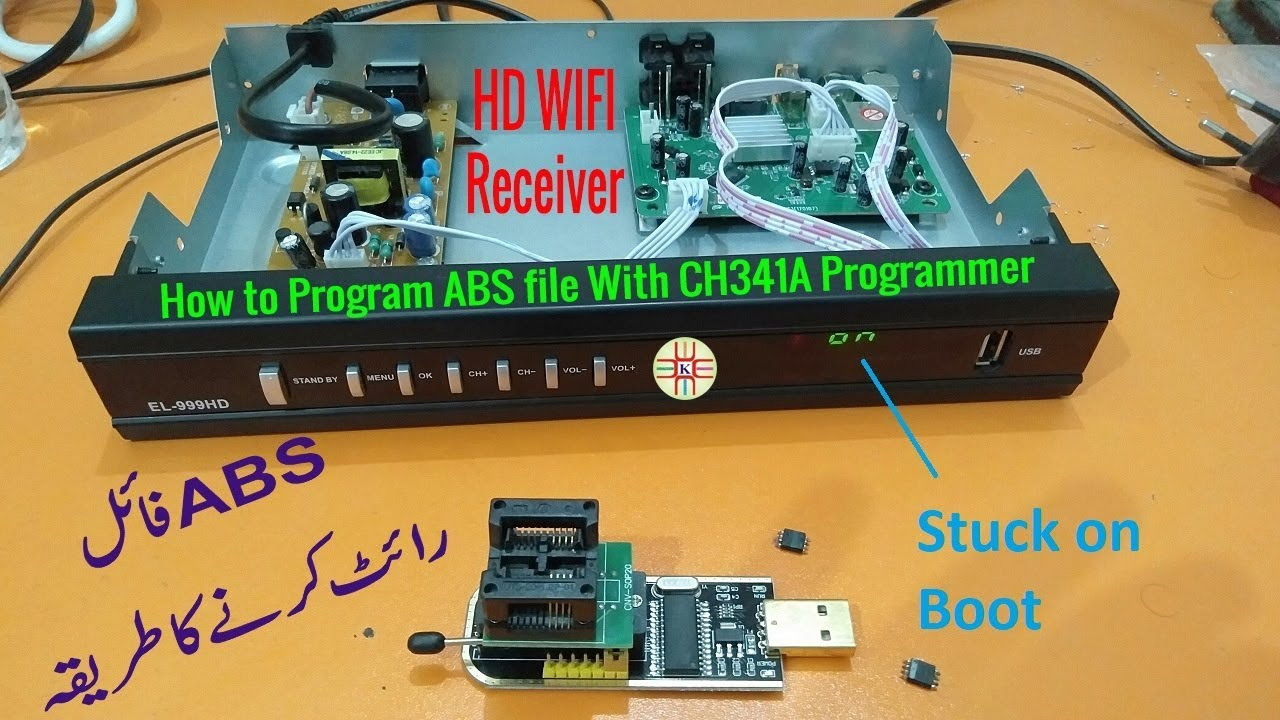 How to Program  abs file using CH341A USB Programmer to Recover HD  Receiver  Detail in Urdu/Hindi