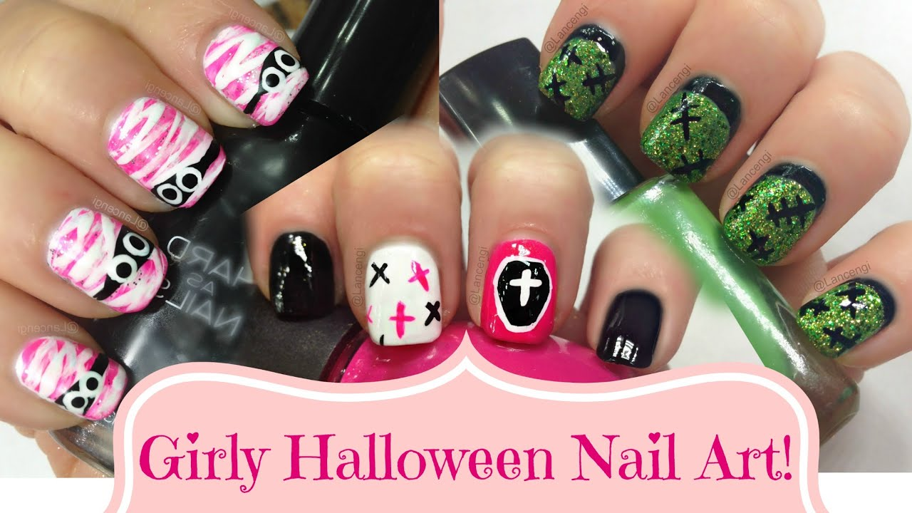 diy cute easy nail art for beginners girly pink halloween easy halloween nail art tutorial - Halloween Easy Nail Art