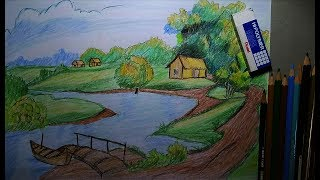 How to Draw Easy and Simple Landscape For Beginner with PENCIL & Color YouTube