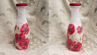 #70 Мастер класс по декупажу на стекле для начинающих - декупаж вазы из бутылки