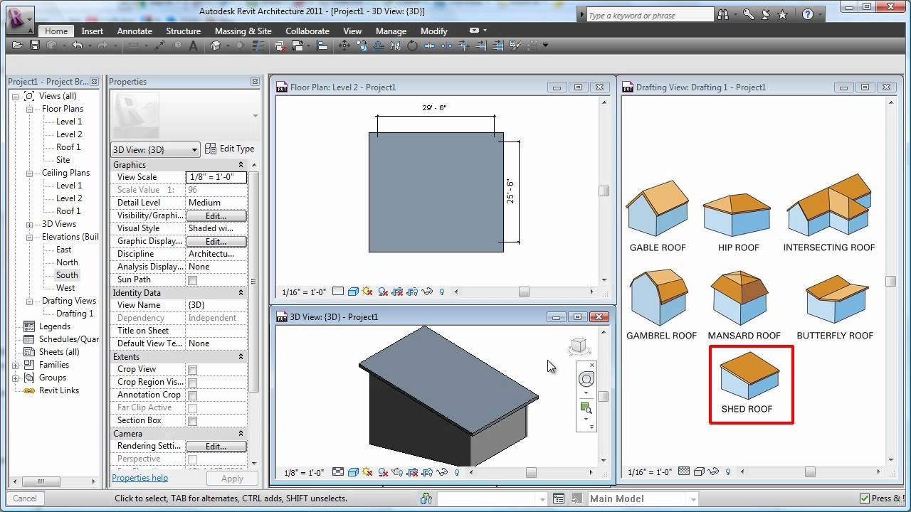 Cadclip Revit 2011 Roof Basics 10 Slope Arrow Youtube