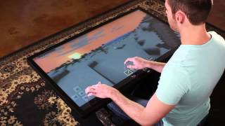 Playing Minecraft on 46' Multitouch Coffee Table with Android 4.4 KitKat