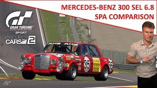 Gran Turismo Sport at Spa - Mercedes-Benz 300 SEL 6.8 (compared to Project CARS 2)