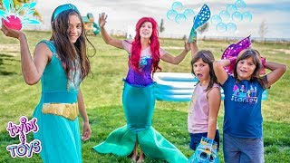Princess Jasmine and Little Mermaid | Water Balloon Pool Party with Twins Kate & Lilly