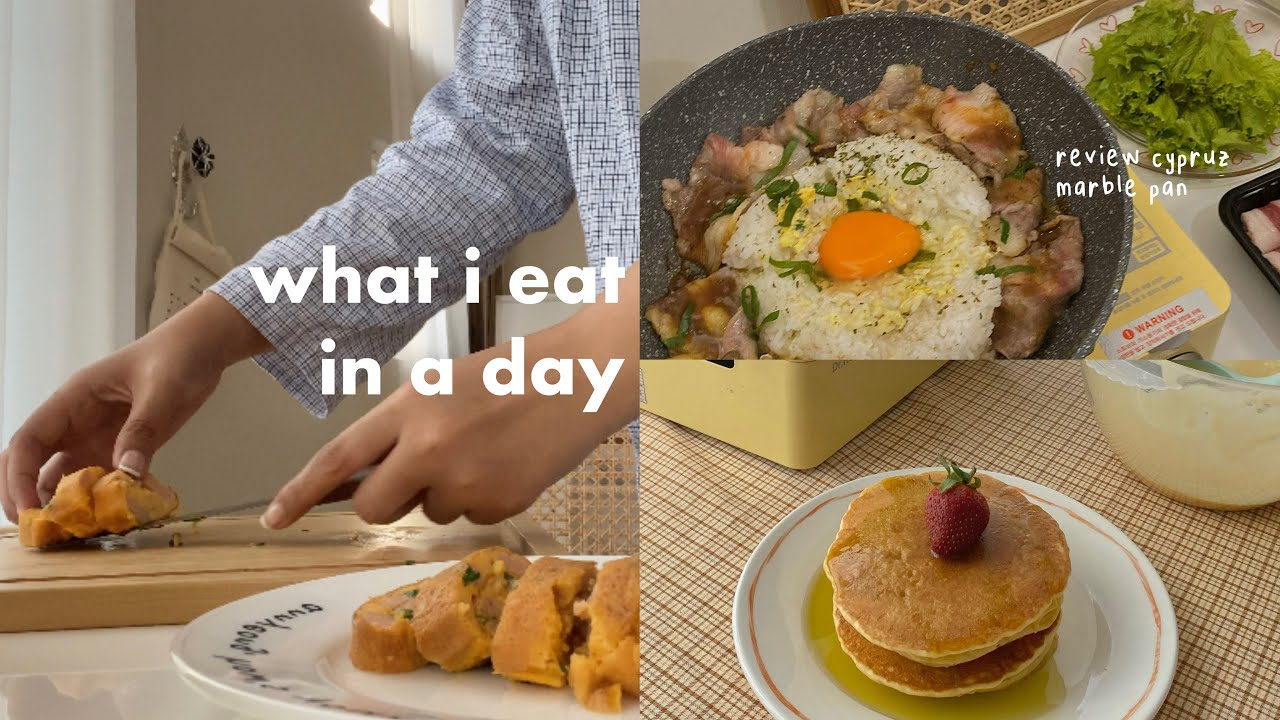 what i eat in a day 🍓🥞🍱  review cypruz marble pan beneran anti lengket?