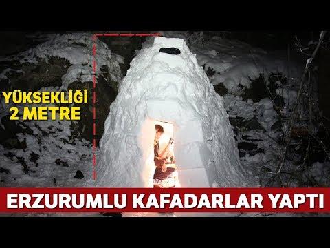 Erzurumlu İki Kafadar İgloo Yaptı