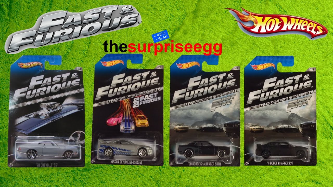 4 Hot Wheels Cars The Fast the Furious series edition opening