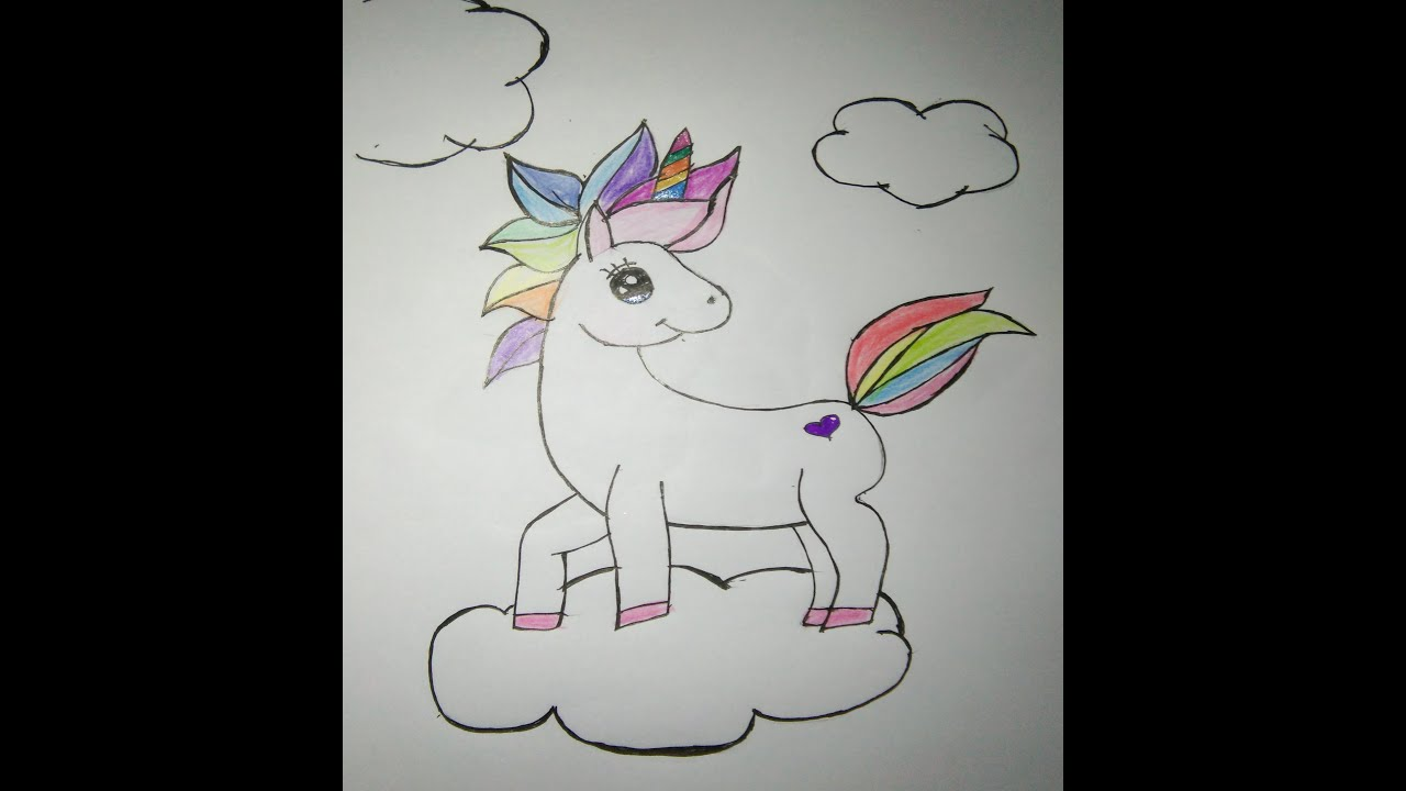 How to make a cute unicorn drawing. - YouTube