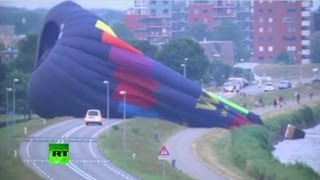 Raw video: Hot air balloon crashes in the Netherlands with 10 people on board