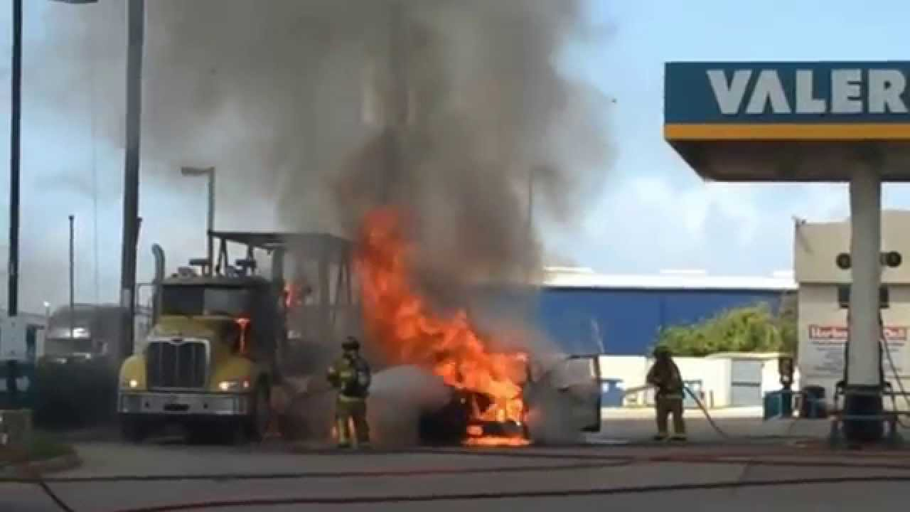 Find Gas Stations >> Pickup catches fire at gas station EXPLODES - YouTube