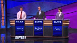 Jeopardy Wednesday December 25 2013 (Larry White - Anthony Niblett - Roxann Smith)