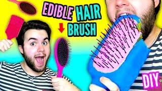 DIY Edible Hairbrush! | EAT Your Brush! | Brush Your Hair With Food!