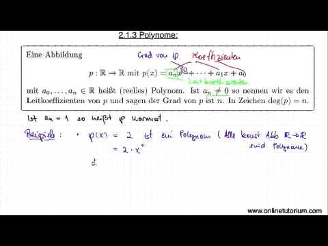 Polynome Teil I - Mathematik Video Tutorium from YouTube · Duration:  6 minutes 56 seconds