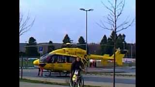 RTW anfahrt in kamenz und Hubschrauber start
