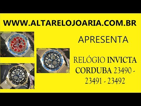 Relógio Invicta Corduba pulseira mesh alarme Gmt 23490 23491 23492