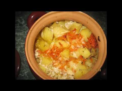 Гречка с сердечками и грибами в горшочках - кулинарный рецепт
