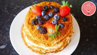 How to make No-Bake Honey Cake (No Oven Required) | Honey Cake Recipe | Medovik