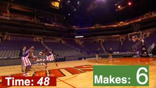 The most basketball underhanded half-court shots in one minute- Guinness World Records